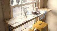 деревянный подоконник-столешница