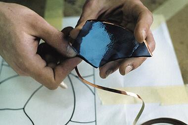 обмотка торцов элемента витража фольгой