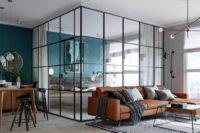 перегородка для зонирования из стекла и металла