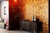 декоративная панель из деревянных кубиков